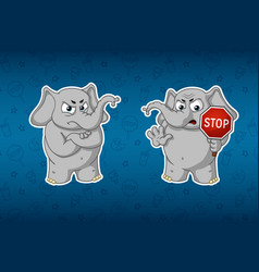 Elephant stop sign holds in hands warning vector