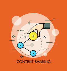 Hand holding share icon concept of online vector