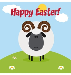 Happy Easter Background with a Ram vector image vector image