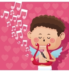 Happy valentine day cupid music romantic harp vector
