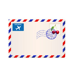 International air mail envelope with postal stamp vector