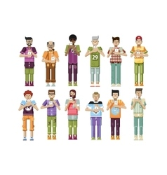 isolated set of men with smartphone vector image vector image