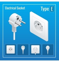 Isometric switches and sockets set type e vector