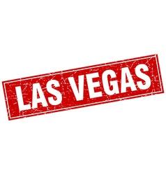Las vegas red square grunge vintage isolated stamp vector