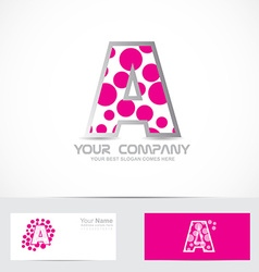 Letter a pink bubble logo vector