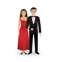 Male and female couple in elegant clothes vector