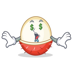 Money eye rambutan mascot cartoon style vector