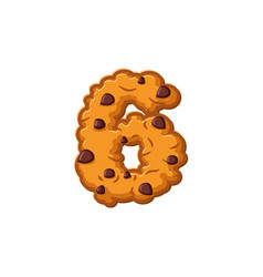 Number 6 cookies font oatmeal biscuit alphabet vector