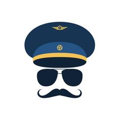 Portrait of pilot with mustache in cap vector
