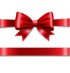 red ribbon bow vector image vector image