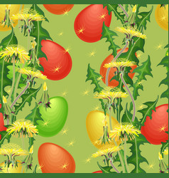 seamless pattern easter egg and dandelion vector image vector image