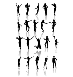 Set of silhouettes of dancing and jumping girls vector image vector image