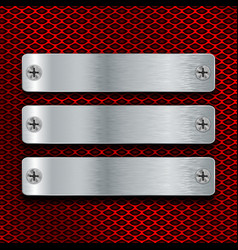 steel plates screwed to red perforated background vector image vector image