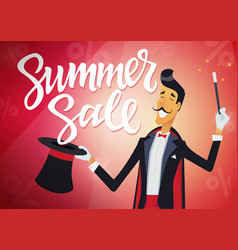 Summer sale - cartoon people characters vector