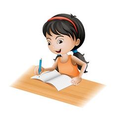 A girl writing vector image
