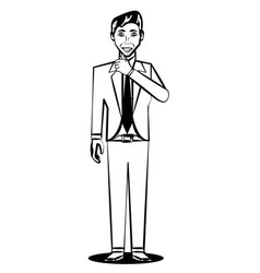 Business man comic outline vector
