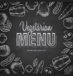 Chalk drawing typography vegetarian menu design vector