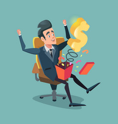 Excited businessman opening gift box with money vector