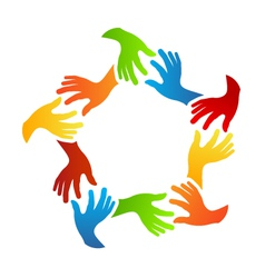 Social Friends Hands Logo vector image