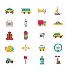 Transportation icon set flat vector