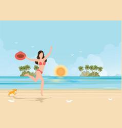 Happy bikini woman jumping of joy and success on vector