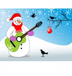 snowman playing guitar vector image