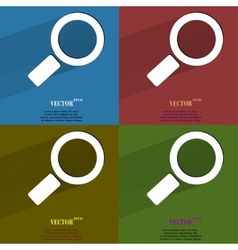 Color set search magnifier flat modern web button vector