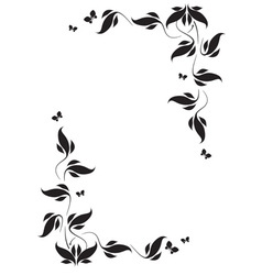 Corner vignette butterflies and leaves vector