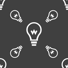 Light bulb icon sign seamless pattern on a gray vector