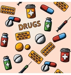 Seamless drugs pills handdrawn pattern with - box vector