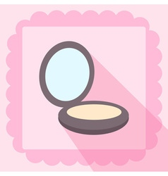 Compact powder flat icon on pink wallpaper vector