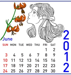 2012 year calendar in june vector