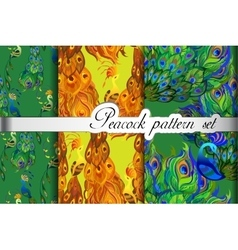 Abstract seamless patterns set gold green peacock vector