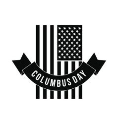 American flag with columbus day ribbon vector