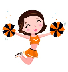 Happy cheerleader vector image