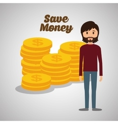 Save money design financial item colorfull vector