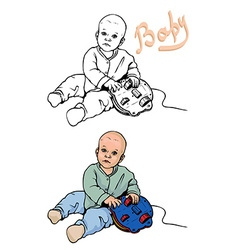 Baby plays with a toy vector