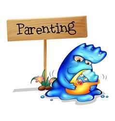 A parent monster and her child vector image vector image
