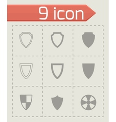 black shield icon set vector image