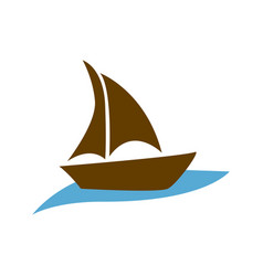 Brown silhouette boat in the blue ocean vector