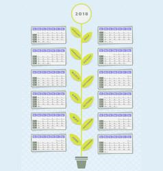 calendar flower design vector image vector image