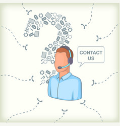 call center concept question man cartoon style vector image