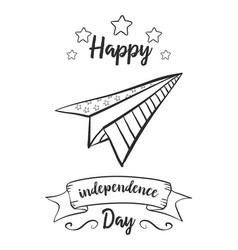 Card hand draw for independence day vector