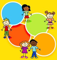 Cartoon kids and color circles-2 vector image