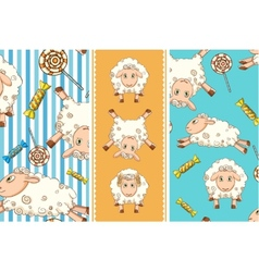 cartoon set with funny sheep Two seamless patterns vector image vector image