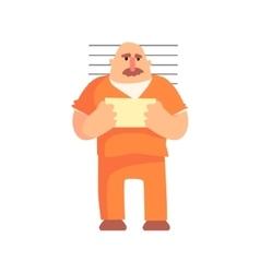 Criminal in orange prison uniform taking picture vector
