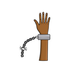 Cute hand up with metalic chain vector