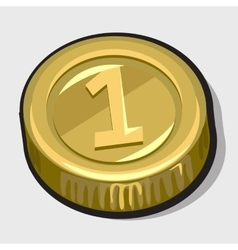 Gold coin with the number one vector