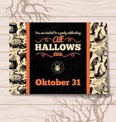 Halloween invitation Vintage hand drawn vector image vector image