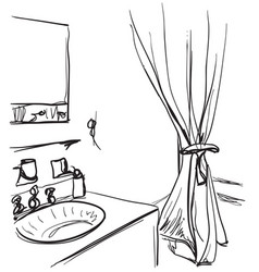 hand drawn bathroom washbasin and mirror sketch vector image